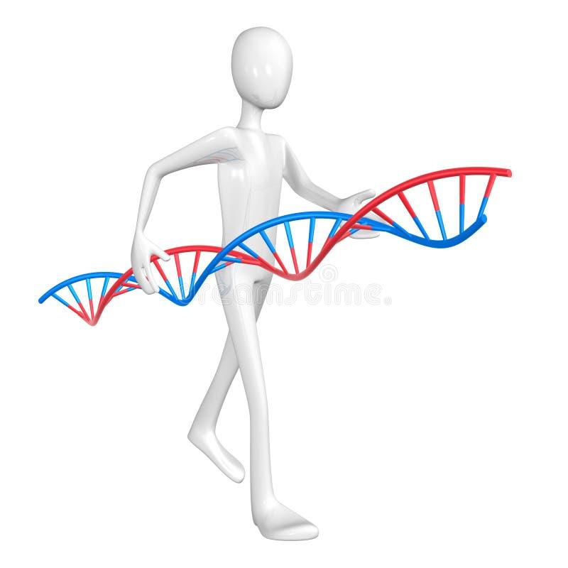 Hombre y DNA. stock de ilustración
