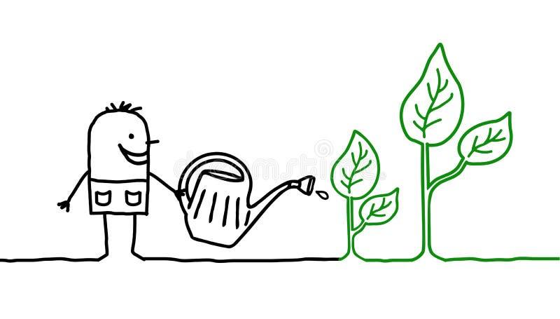 Hombre y el cultivar un huerto libre illustration