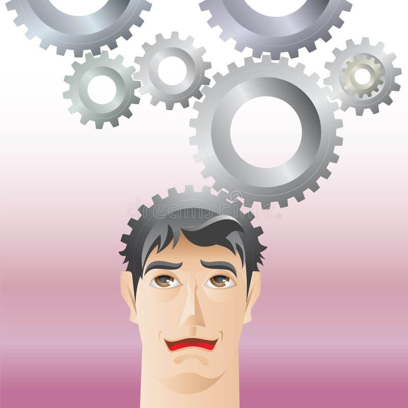 Hombre y engranaje stock de ilustración