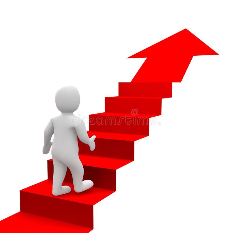Hombre y escaleras rojas ilustración del vector