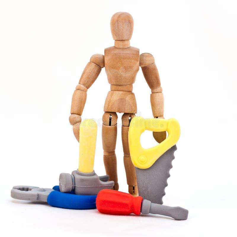 Hombre y herramientas imágenes de archivo libres de regalías