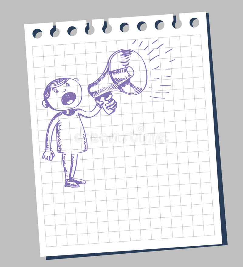 Hombre y loudhailer ilustración del vector