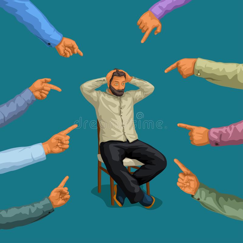 Hombre y manos acentuadas stock de ilustración