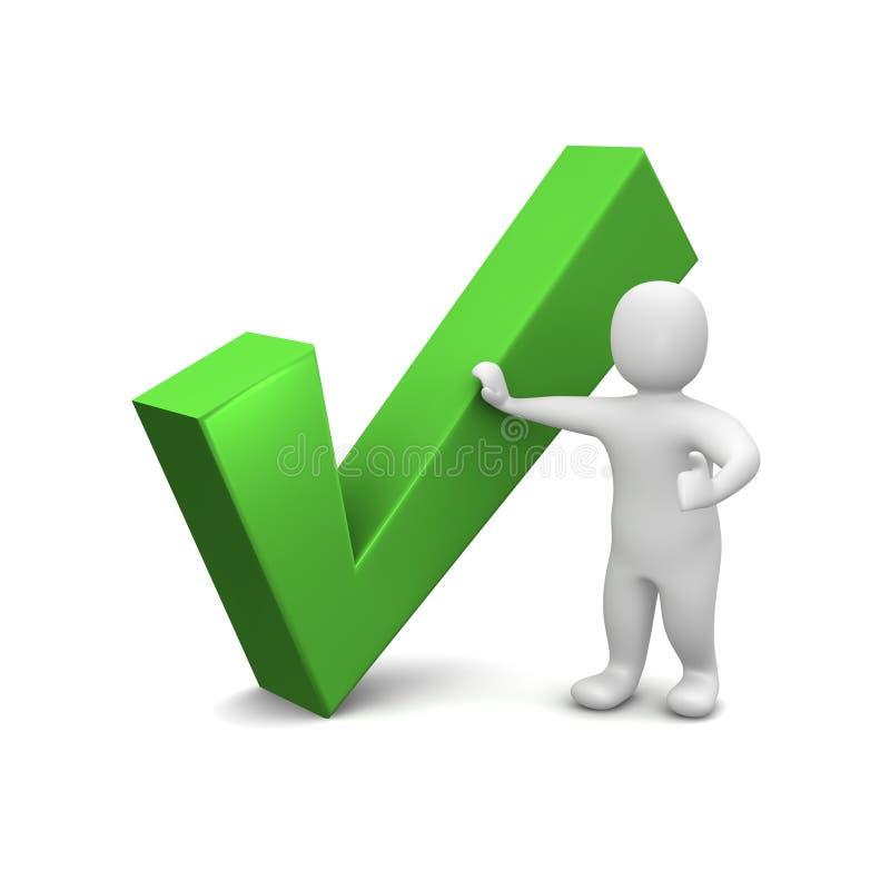 Hombre y marca de verificación verde stock de ilustración