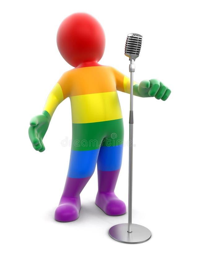 Hombre y micrófono multicolores libre illustration