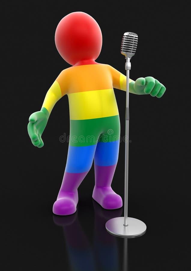 Hombre y micrófono multicolores stock de ilustración