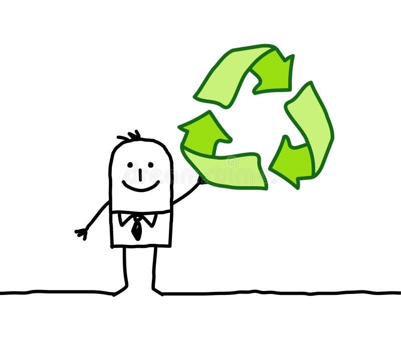 Hombre y muestra del reciclaje ilustración del vector