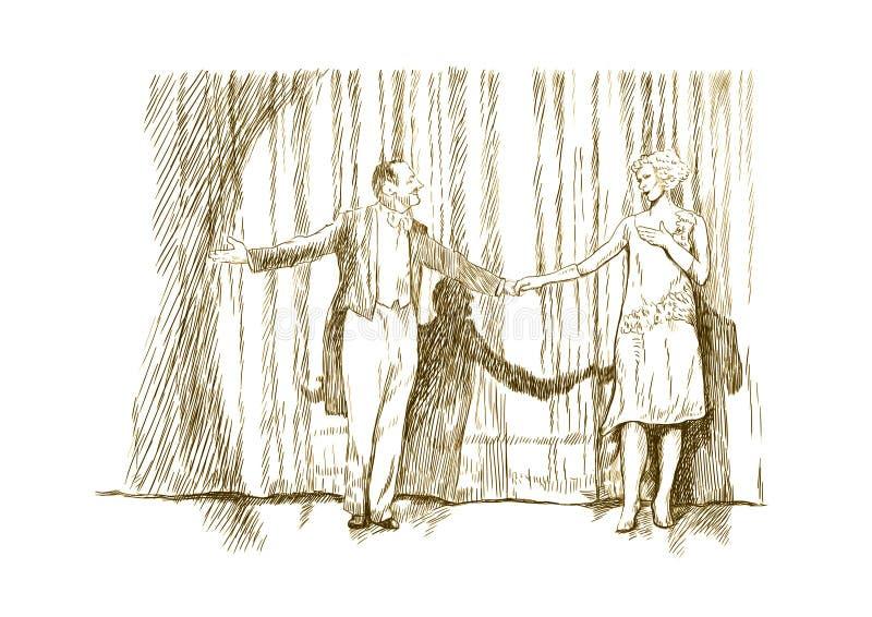 Hombre y mujer stock de ilustración