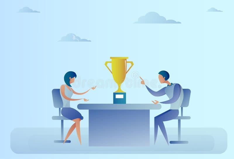 Hombre y mujer acertados de negocios abstracto que se sientan en la tabla con la taza del ganador del premio, concepto del éxito libre illustration