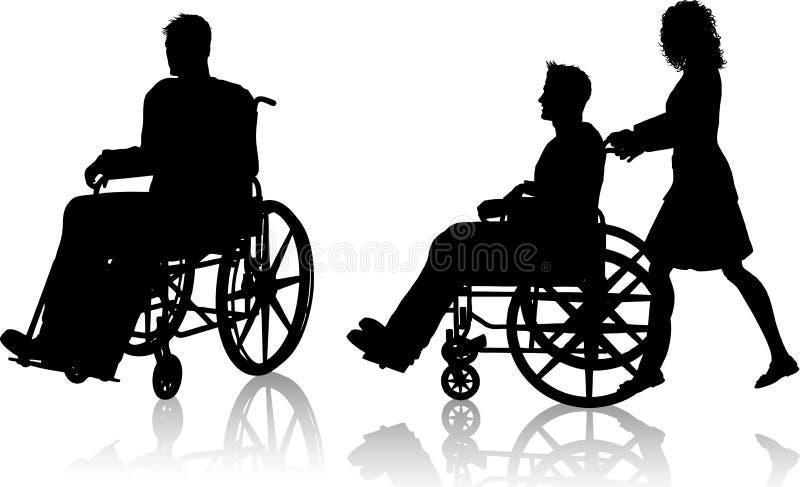 Hombre y mujer con el sillón de ruedas libre illustration