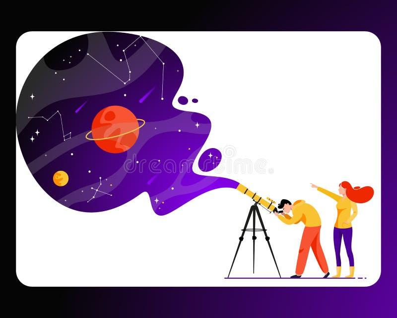 Hombre y mujer con el telescopio en busca de una estrella stock de ilustración