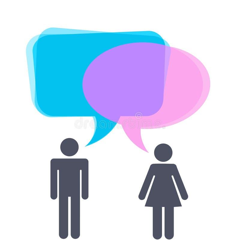 Hombre y mujer con las burbujas del discurso stock de ilustración