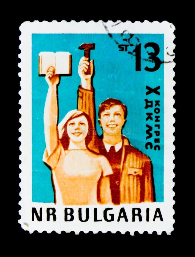 hombre y mujer, congreso 10 de la unión de Dimitrov de la juventud comunista, circa 1963 imagenes de archivo