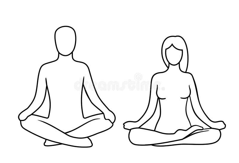 Hombre y mujer de la actitud de la yoga del loto Actitud de Lotus ilustración del vector
