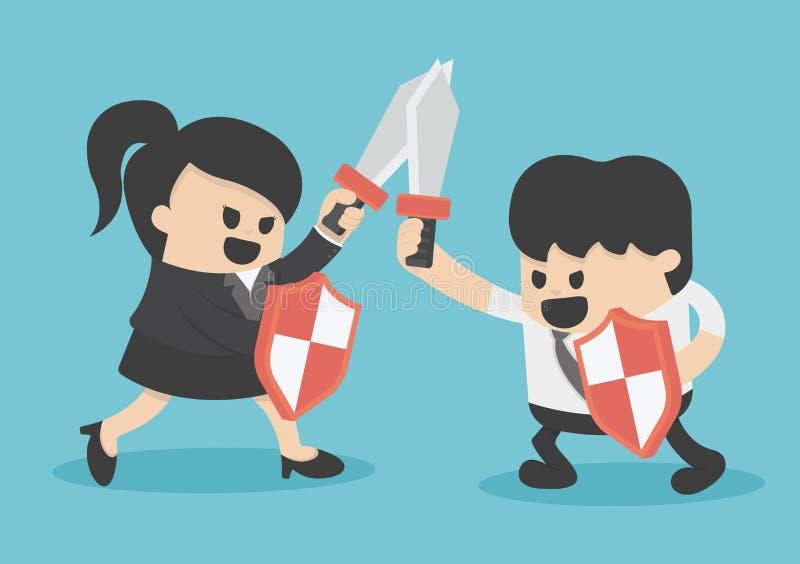 Hombre y mujer de la lucha del negocio del concepto con la espada y el escudo ilustración del vector