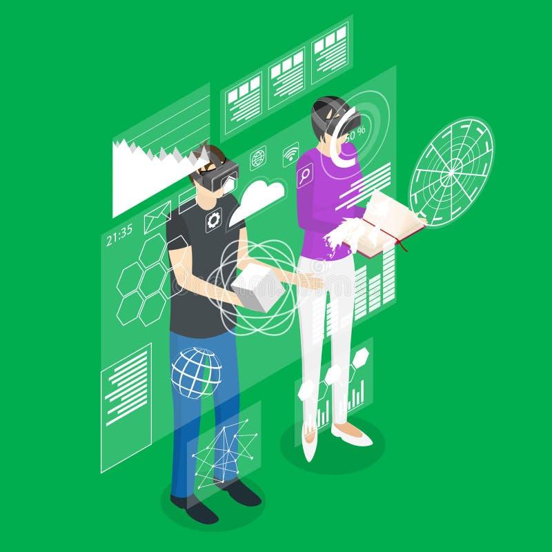 Hombre y mujer de la realidad virtual con la opinión isométrica de la tecnología del concepto futurista de la exhibición Vector ilustración del vector