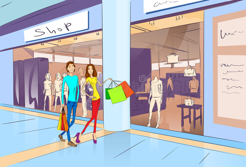 Hombre y mujer de las compras de los pares que caminan con los bolsos libre illustration