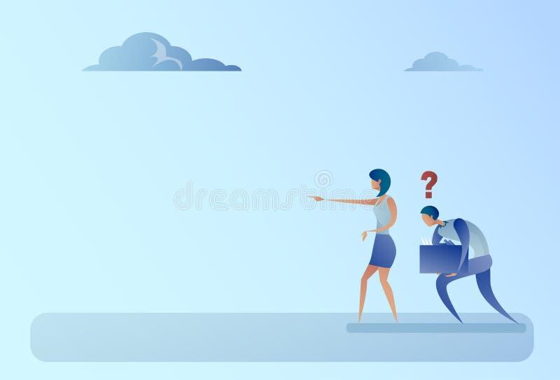 Hombre y mujer de negocios con concepto del problema de Mark Point Finger Show Direction de la pregunta ilustración del vector