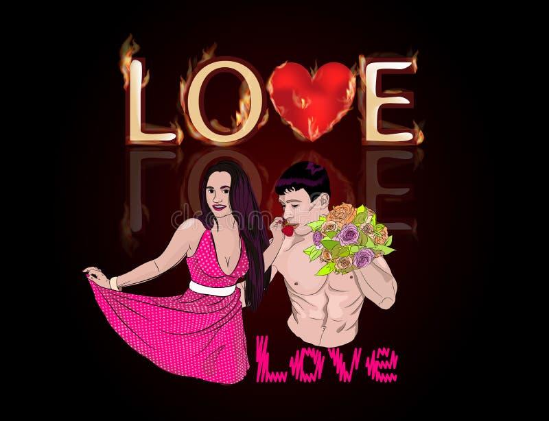 hombre y mujer del amor en un fondo ilustración del vector