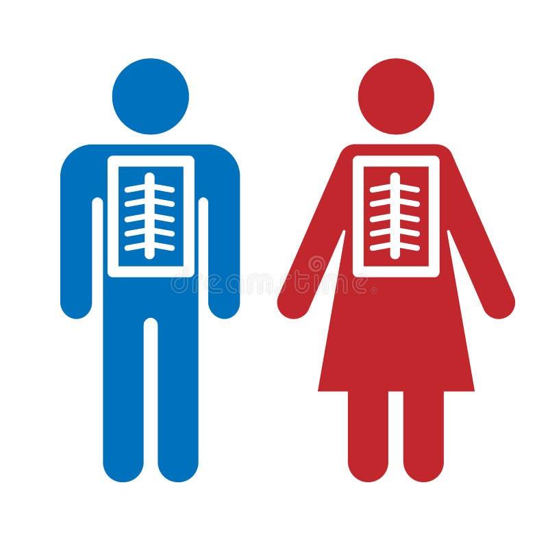 Hombre y mujer del icono de la radiografía Cuidando para la salud, atención sanitaria, diagnosis, comprobando el ejemplo del vect ilustración del vector