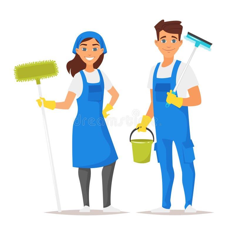 Hombre y mujer del servicio de la limpieza ilustración del vector
