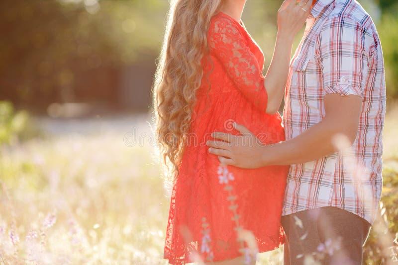 Hombre y mujer embarazada en un prado fotografía de archivo