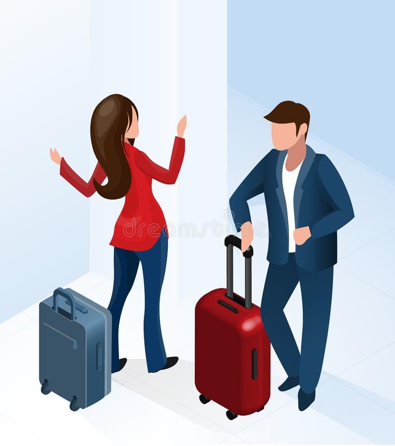 Hombre y mujer en el hotel Pasillo con la maleta del equipaje stock de ilustración