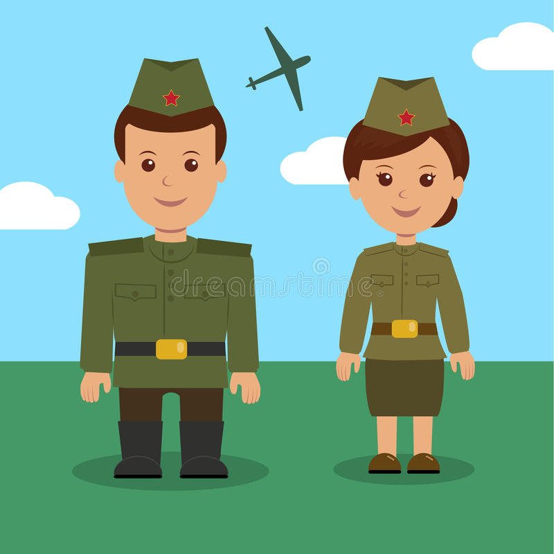 Hombre y mujer en el uniforme de los militares rusos Caracteres militares para el fondo el 23 de febrero ilustración del vector