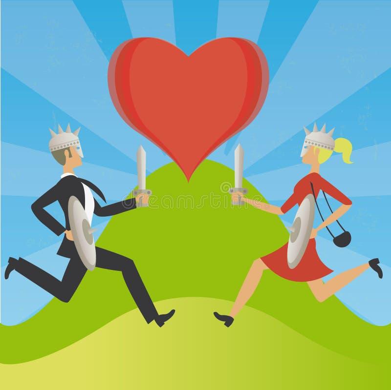 Hombre y mujer en guerra por amor, como viejos vikingos stock de ilustración