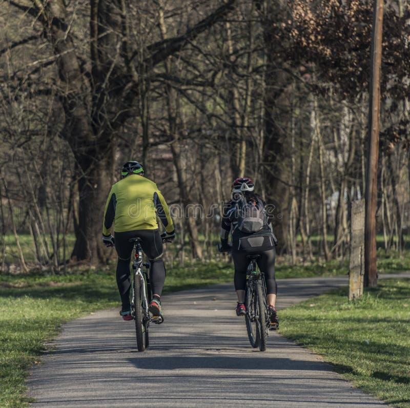 Hombre y mujer en las bicicletas en día de primavera soleado imágenes de archivo libres de regalías