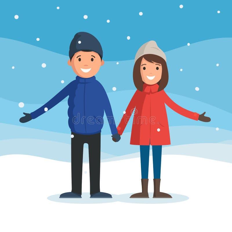 Hombre y mujer en paisaje del invierno libre illustration
