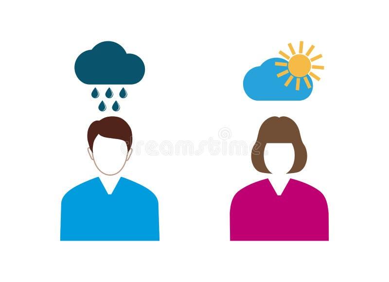 Hombre y mujer en su cabeza Positivo y pensamiento negativo Pesimista y optimista libre illustration