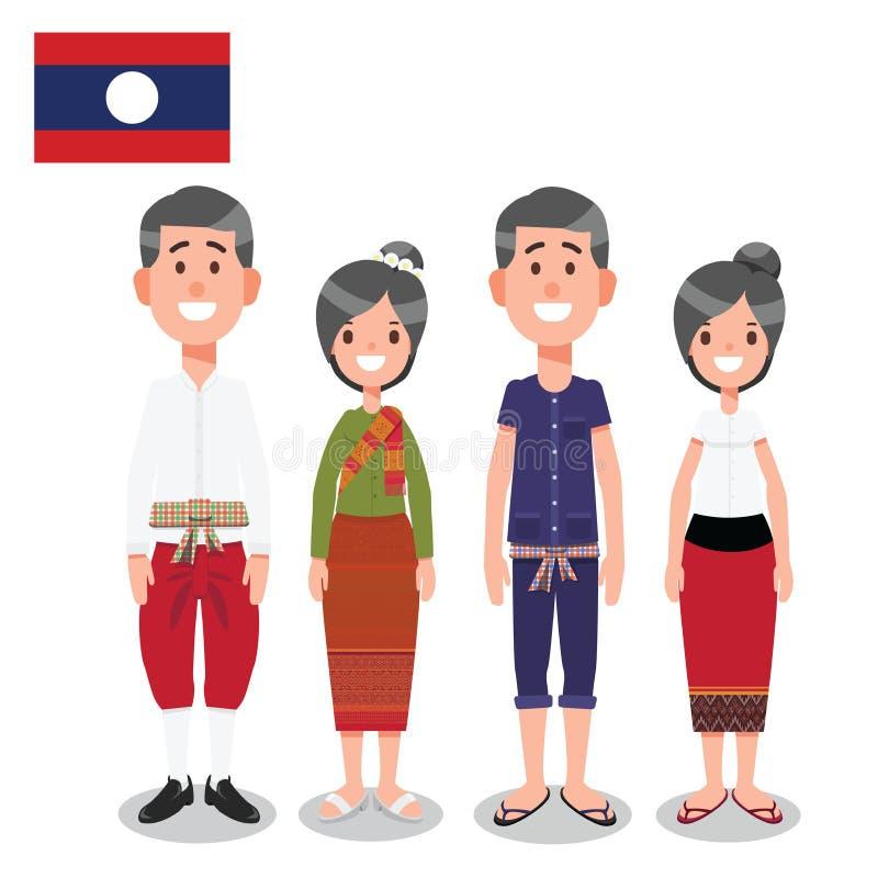 Hombre y mujer en traje formal de Laos e informal tradicional de la nación con la bandera stock de ilustración