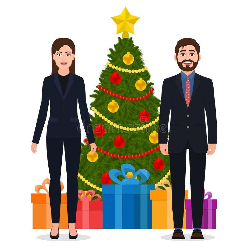 Hombre y mujer en una situación del traje cerca del árbol de navidad, ejemplo del vector de los personajes de dibujos animados ilustración del vector