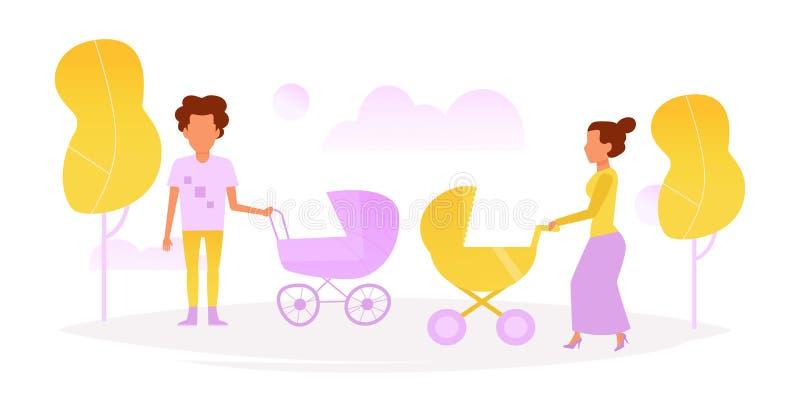 Hombre y mujer que caminan con los niños libre illustration