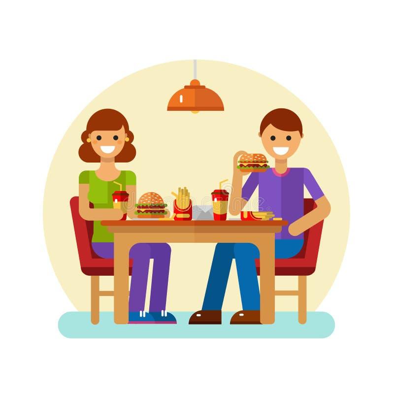 Hombre y mujer que comen los alimentos de preparación rápida libre illustration