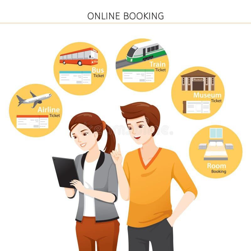 Hombre y mujer que compran boletos en línea, autobús, tren, aeroplano, sitio, museo en la tableta del ordenador libre illustration
