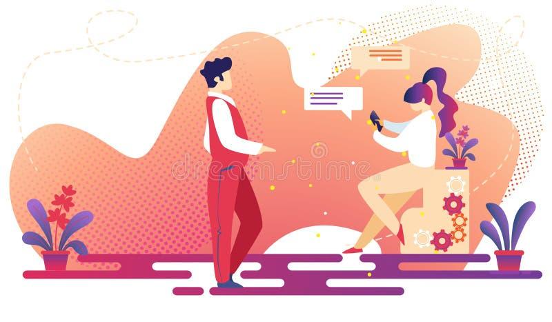 Hombre y mujer que comunican Relaci?n de la gente libre illustration