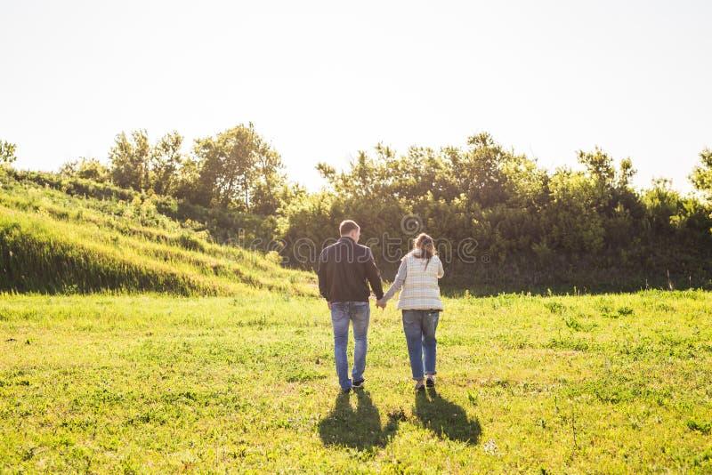 Hombre y mujer que llevan a cabo las manos y que caminan en la naturaleza, visión trasera imagen de archivo libre de regalías