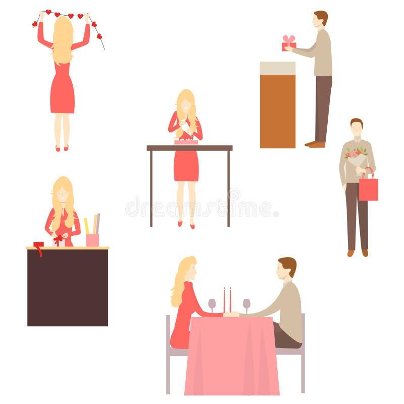 Hombre y mujer que se preparan para el día de tarjeta del día de San Valentín libre illustration
