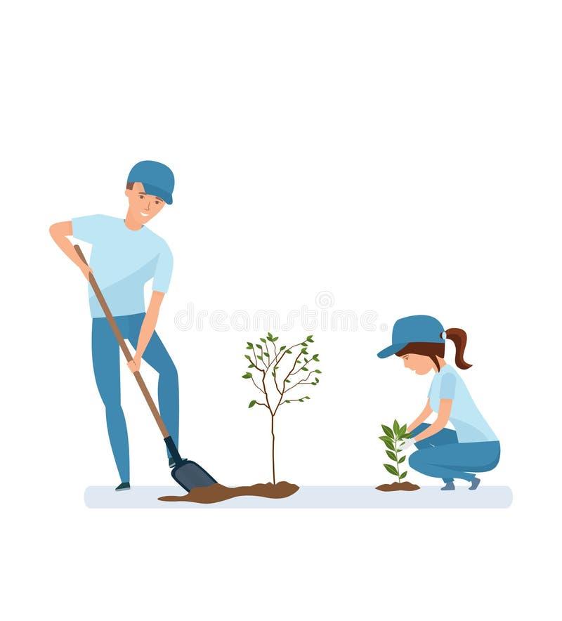 Hombre y mujer que sostienen la pala y que plantan las plantas y los árboles libre illustration