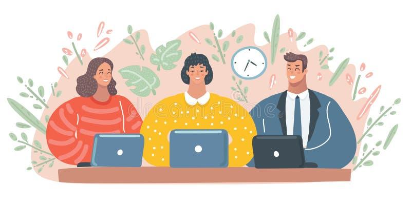 Hombre y mujer que trabajan en sus ordenadores stock de ilustración