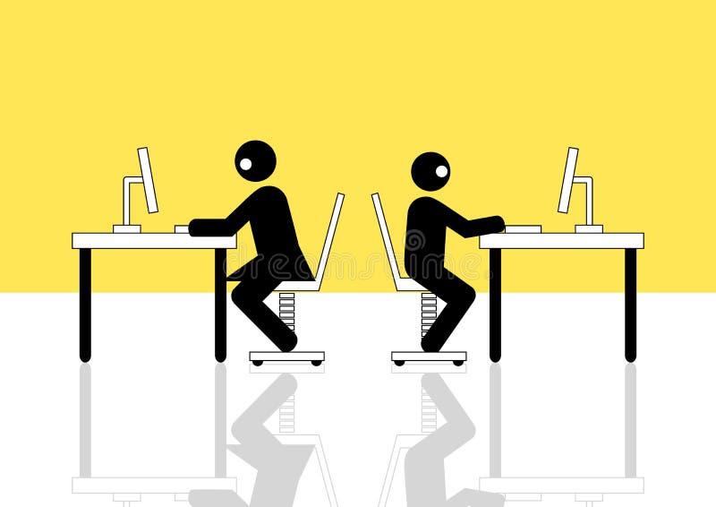 Hombre y mujer que usa el ordenador libre illustration