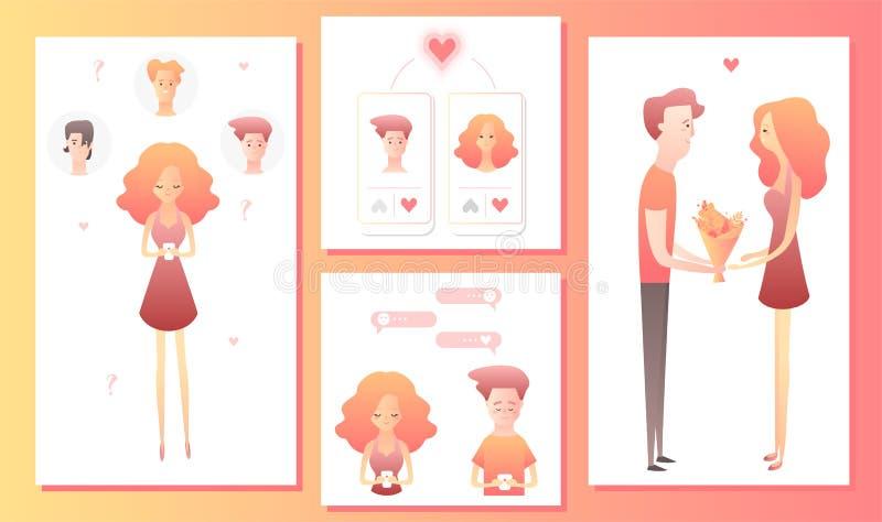 Hombre y mujer que usa la aplicación móvil para fechar o buscar al socio romántico en Internet stock de ilustración
