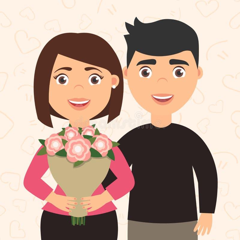 Hombre y mujer románticos de los pares Muchacha que sostiene un ramo de flores en sus manos El novio abraza a su novia lindo stock de ilustración