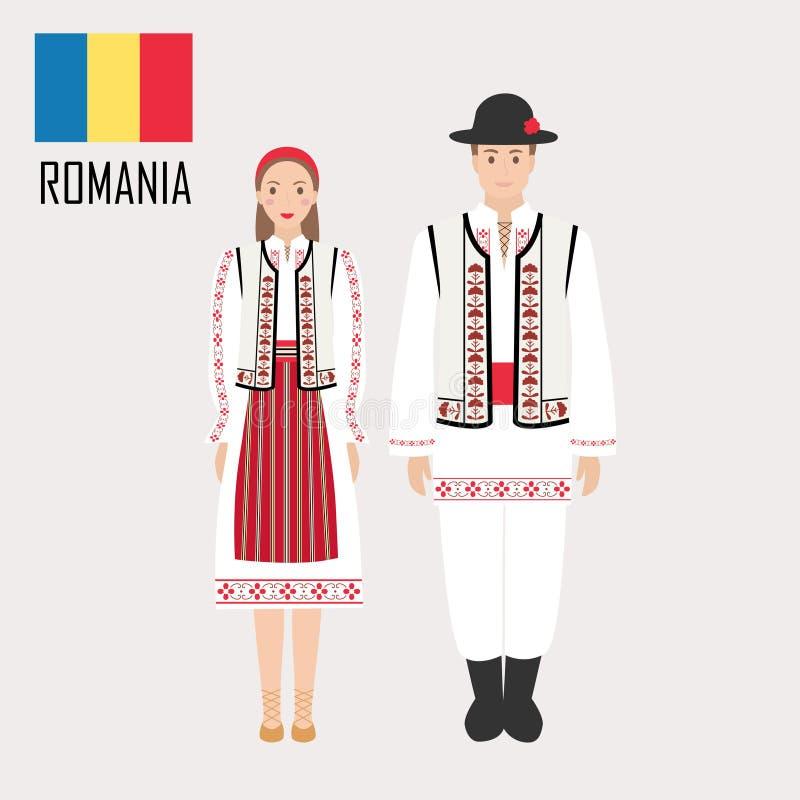 Hombre y mujer rumanos en trajes tradicionales stock de ilustración