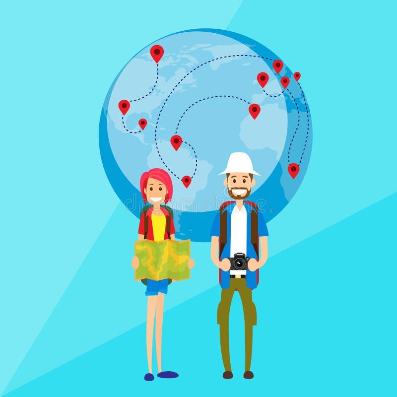 Hombre y mujer turísticos de los pares de la gente de la historieta libre illustration