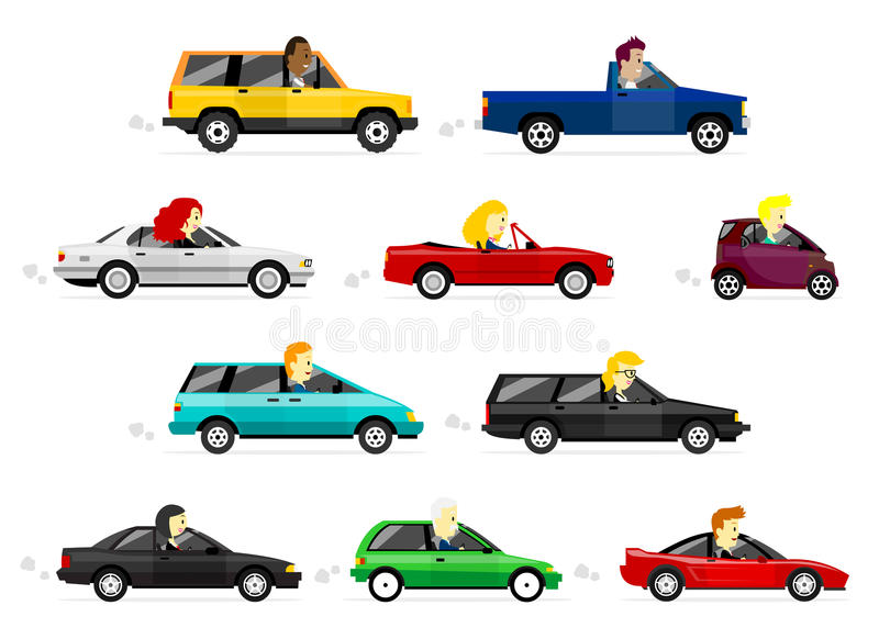 Hombre y mujeres de negocios que conducen los coches stock de ilustración