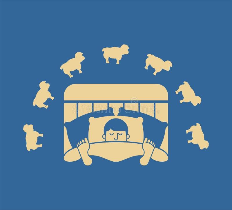 Hombre y ovejas durmientes Individuo en la cama dormida varón del durmiente Vector stock de ilustración