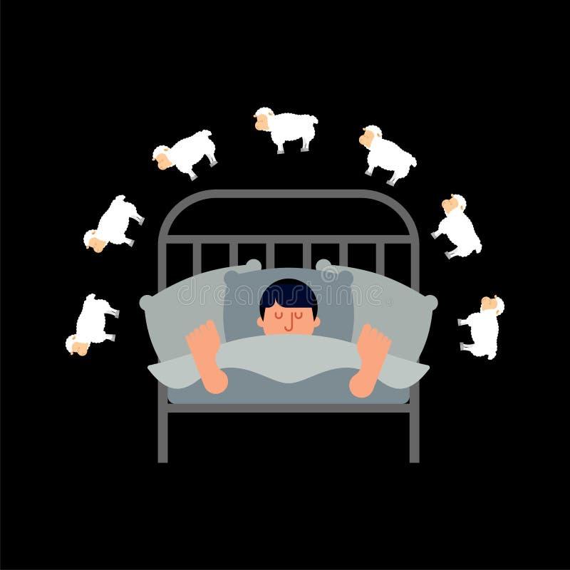 Hombre y ovejas durmientes Individuo en la cama dormida varón del durmiente Vector ilustración del vector